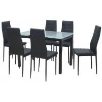פינת אוכל מזכוכית שחור עם פלטת שולחן בצבע פרוסט (חצי שקוף)