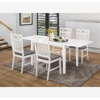 פינת אוכל עם הארכה מעץ דגם EVERTON כולל 6 כיסאות.