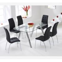 פינת אוכל מזכוכית דגם DONNA כולל 6 כיסאות מבית GAROX