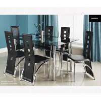 פינת אוכל מזכוכית דגם LORETO כולל 6 כיסאות - צבע שחור