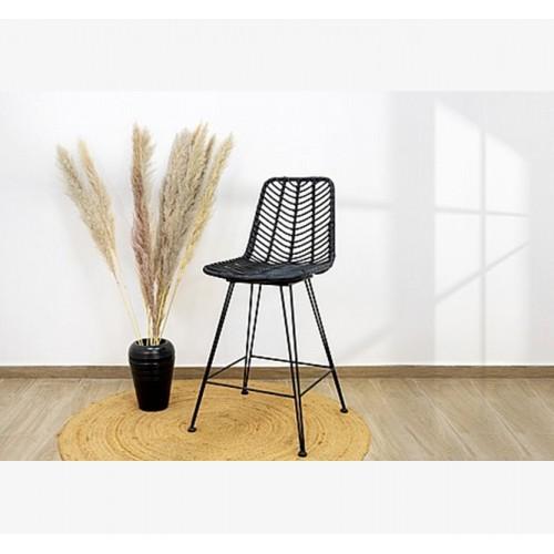 כיסא בר ראטן צבע טבעי בשילוב רגלי מתכת