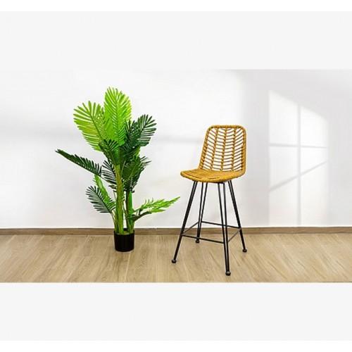 כיסא בר ראטן צבע טבעי או שחור בשילוב רגלי מתכת