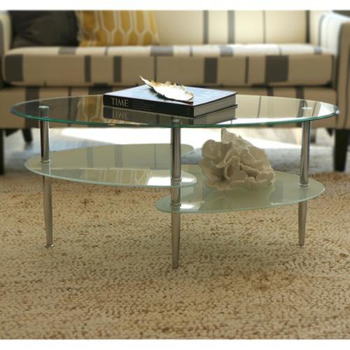 שולחן סלון דו-מדפי מבית Homaxדגם סמפדוריה צבע שקוף-חלבי