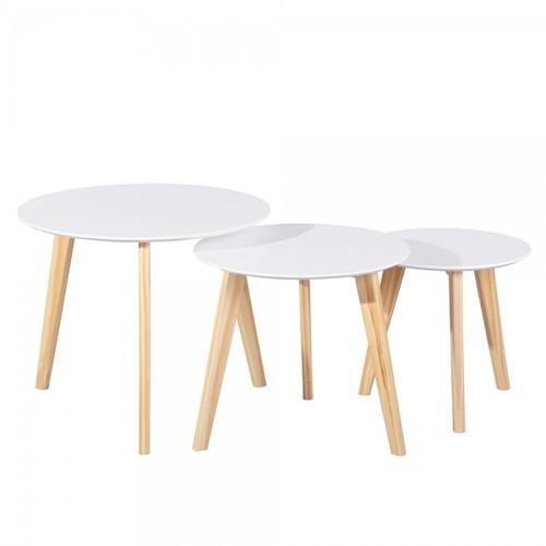 פלטת שולחן בצבע לבן, רגליים בצבע עץ טבעי